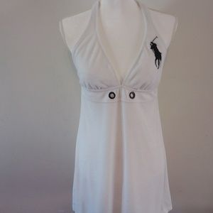 Polo White Terry Cloth Halter Dress Cover-Up